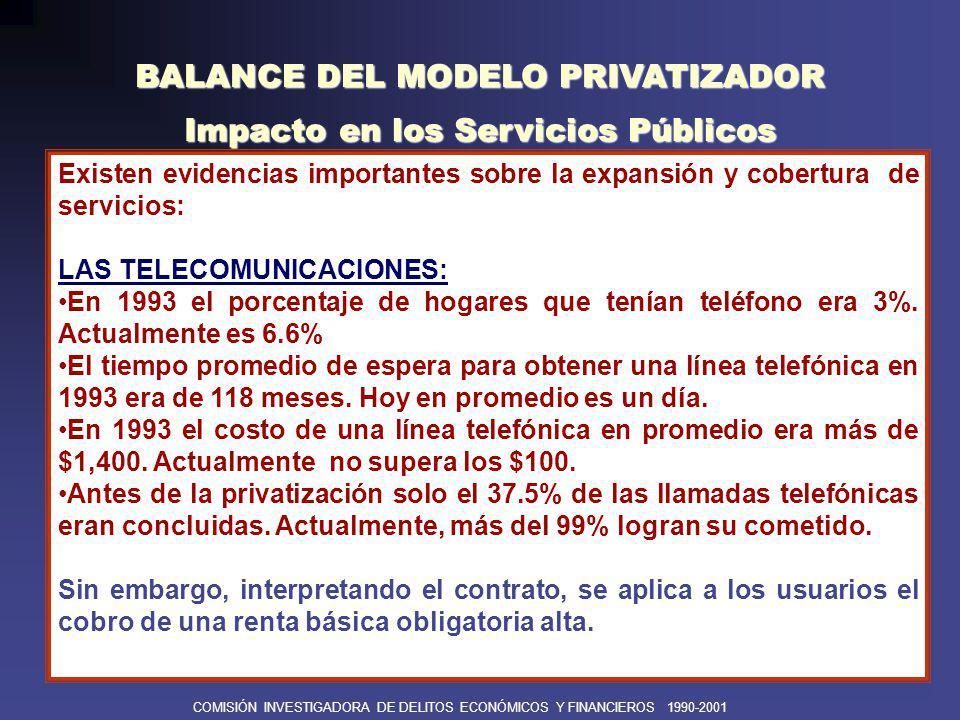 BALANCE DEL MODELO PRIVATIZADOR Impacto en los Servicios Públicos