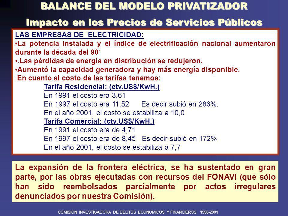BALANCE DEL MODELO PRIVATIZADOR