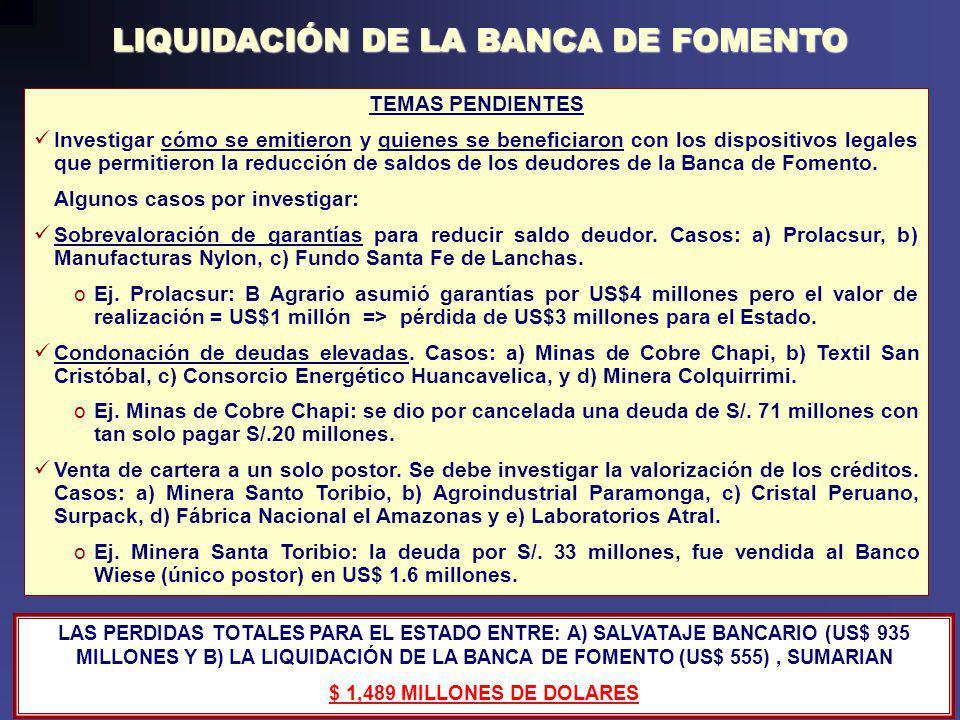 LIQUIDACIÓN DE LA BANCA DE FOMENTO