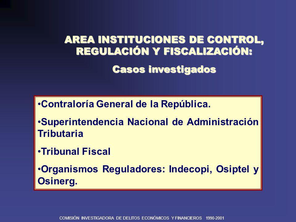 AREA INSTITUCIONES DE CONTROL, REGULACIÓN Y FISCALIZACIÓN: