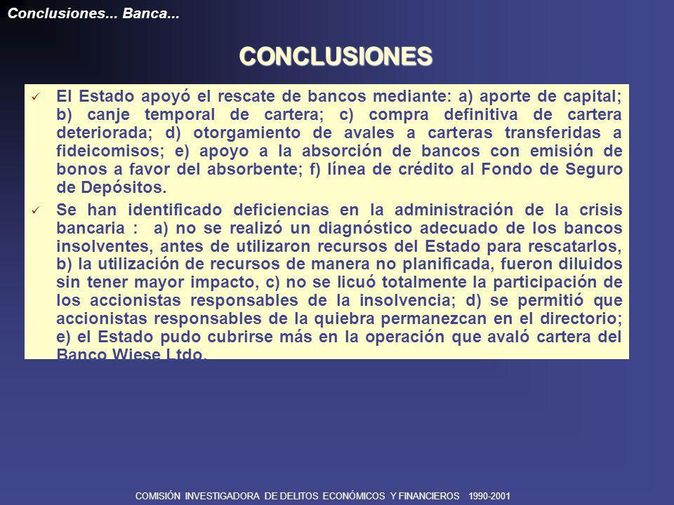COMISIÓN INVESTIGADORA DE DELITOS ECONÓMICOS Y FINANCIEROS 1990-2001