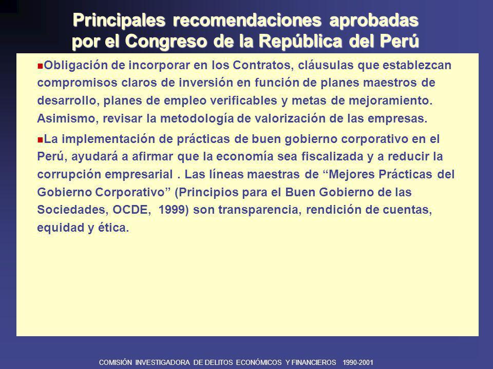 Principales recomendaciones aprobadas