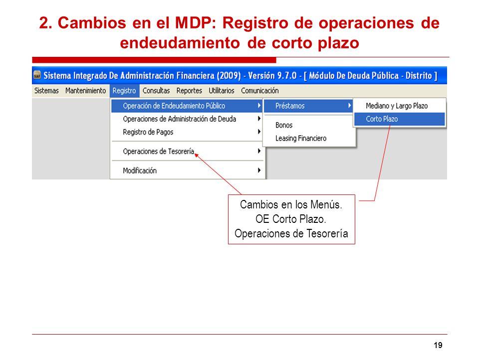 2. Cambios en el MDP: Registro de operaciones de endeudamiento de corto plazo