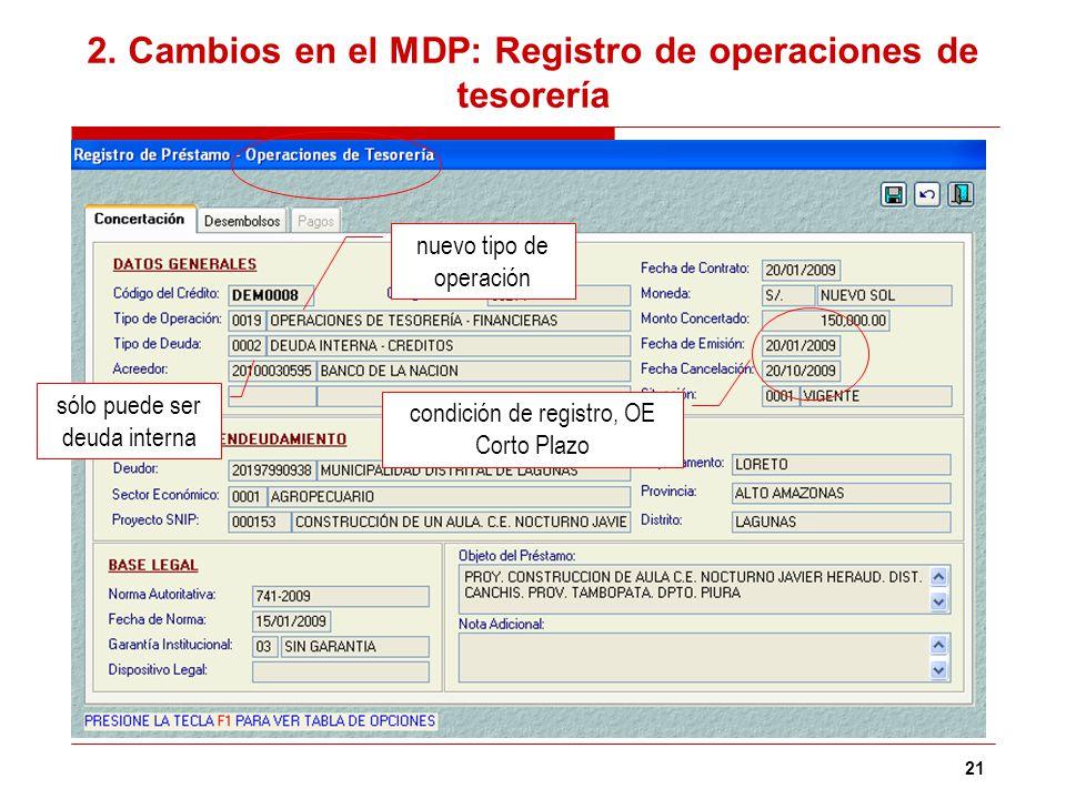 2. Cambios en el MDP: Registro de operaciones de tesorería