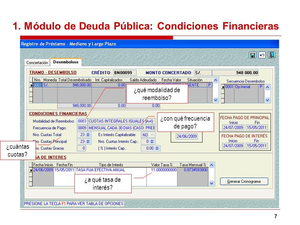 1. Módulo de Deuda Pública: Condiciones Financieras