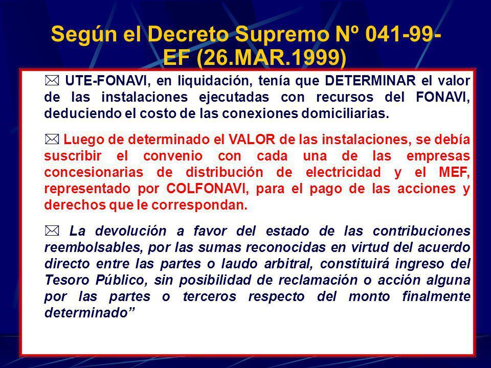Según el Decreto Supremo Nº 041-99-EF (26.MAR.1999)