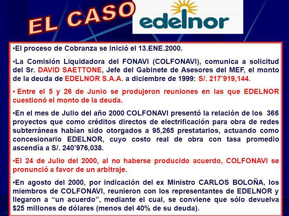 EL CASO El proceso de Cobranza se inició el 13.ENE.2000.