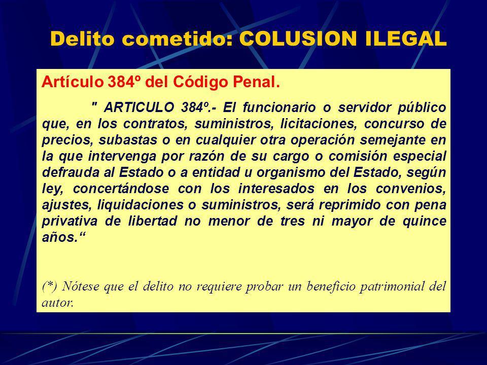 Delito cometido: COLUSION ILEGAL