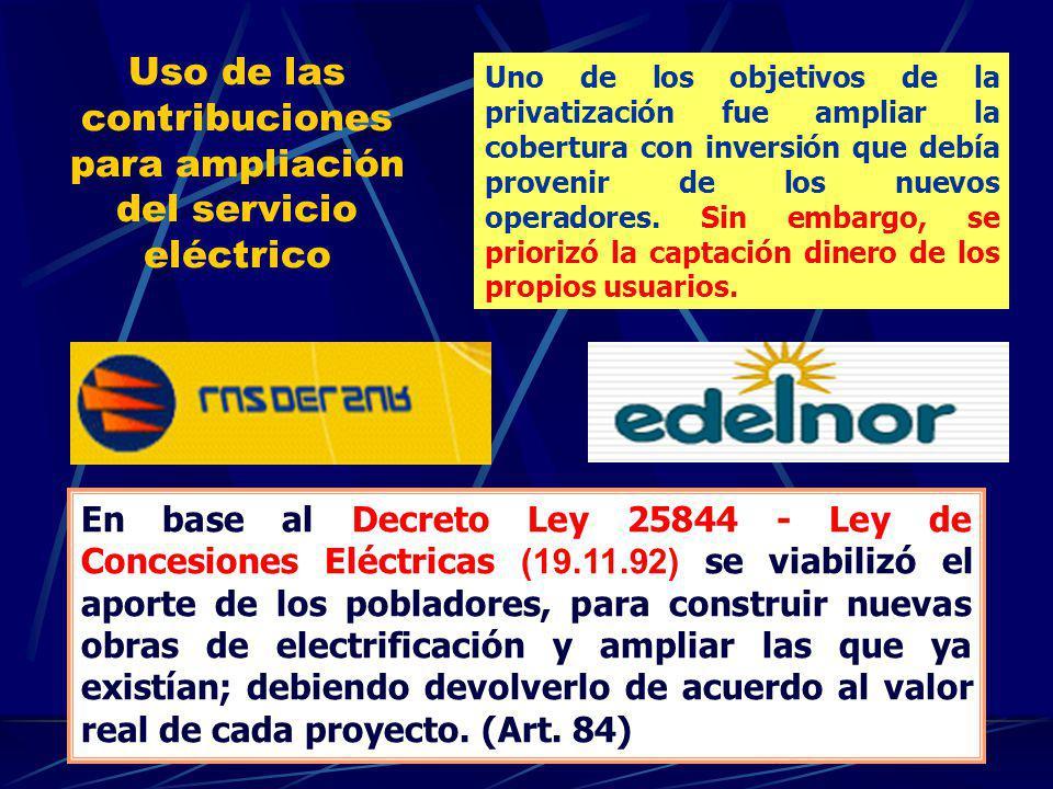Uso de las contribuciones para ampliación del servicio eléctrico