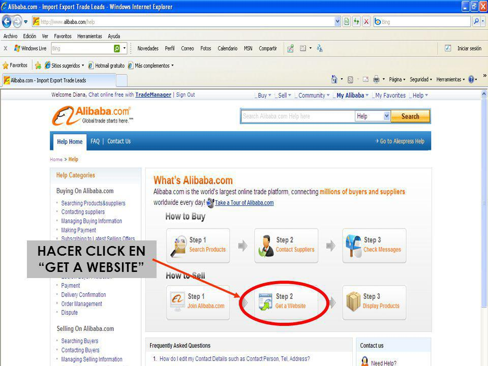 HACER CLICK EN GET A WEBSITE