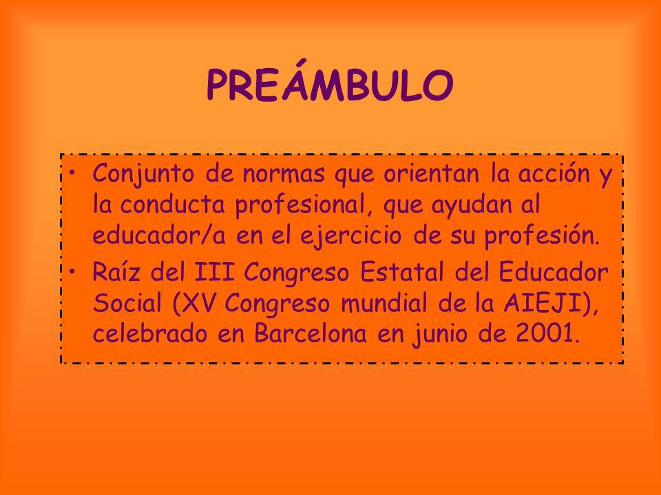 PREÁMBULO Conjunto de normas que orientan la acción y la conducta profesional, que ayudan al educador/a en el ejercicio de su profesión.