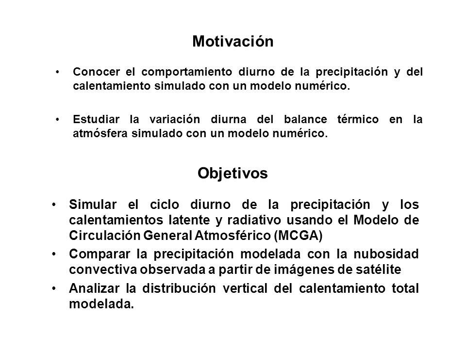 Motivación Conocer el comportamiento diurno de la precipitación y del calentamiento simulado con un modelo numérico.