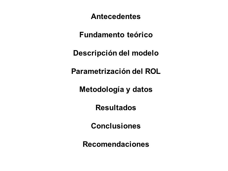 Descripción del modelo Parametrización del ROL