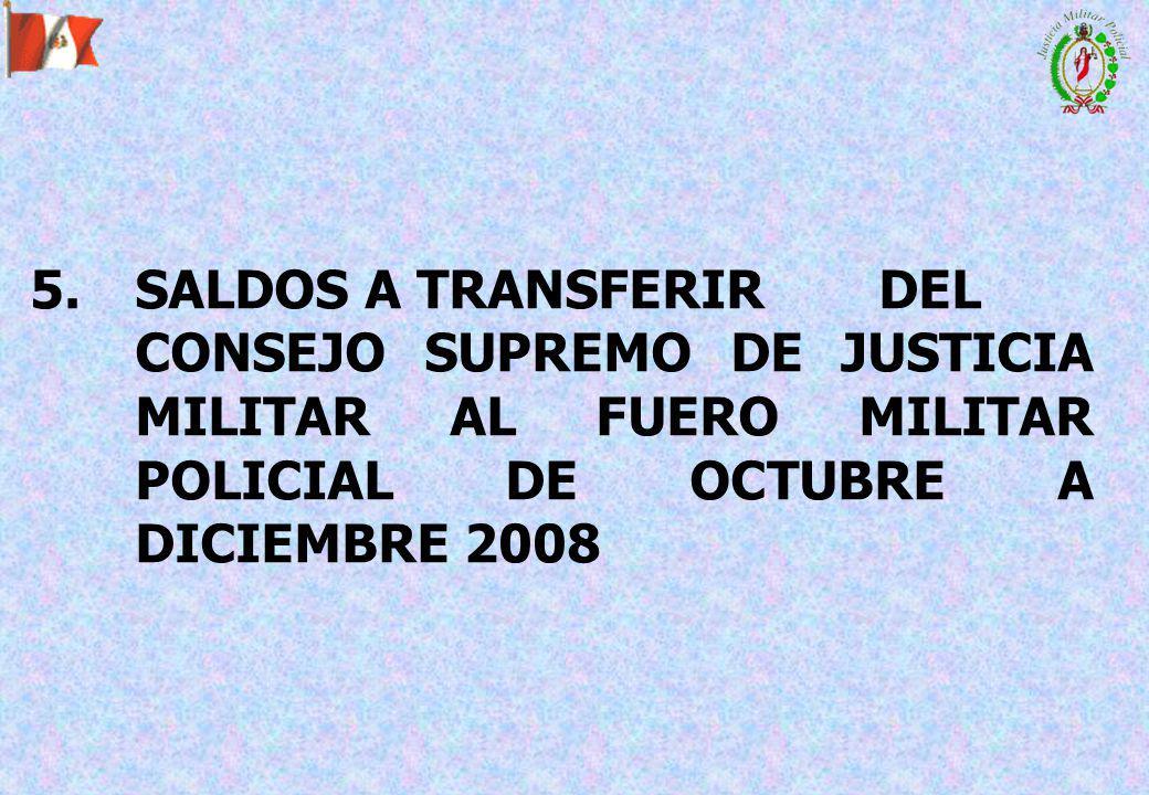 5. SALDOS A TRANSFERIR DEL CONSEJO SUPREMO DE JUSTICIA MILITAR AL FUERO MILITAR POLICIAL DE OCTUBRE A DICIEMBRE 2008
