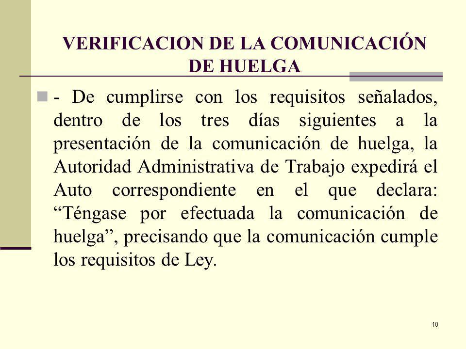 VERIFICACION DE LA COMUNICACIÓN DE HUELGA