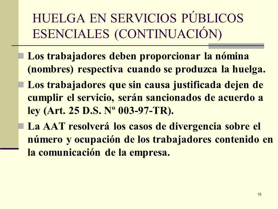 HUELGA EN SERVICIOS PÚBLICOS ESENCIALES (CONTINUACIÓN)