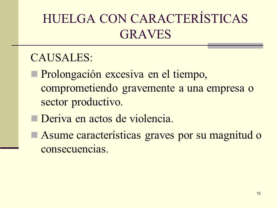 HUELGA CON CARACTERÍSTICAS GRAVES