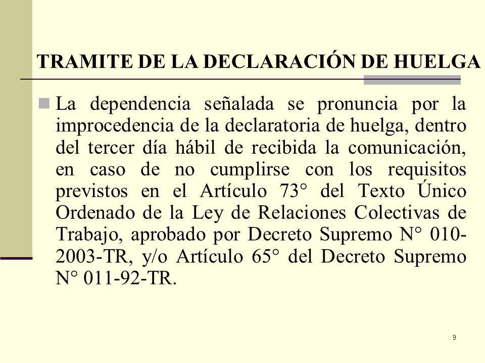 TRAMITE DE LA DECLARACIÓN DE HUELGA