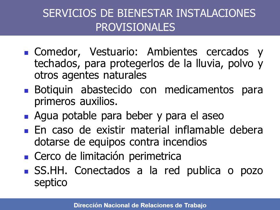 SERVICIOS DE BIENESTAR INSTALACIONES PROVISIONALES