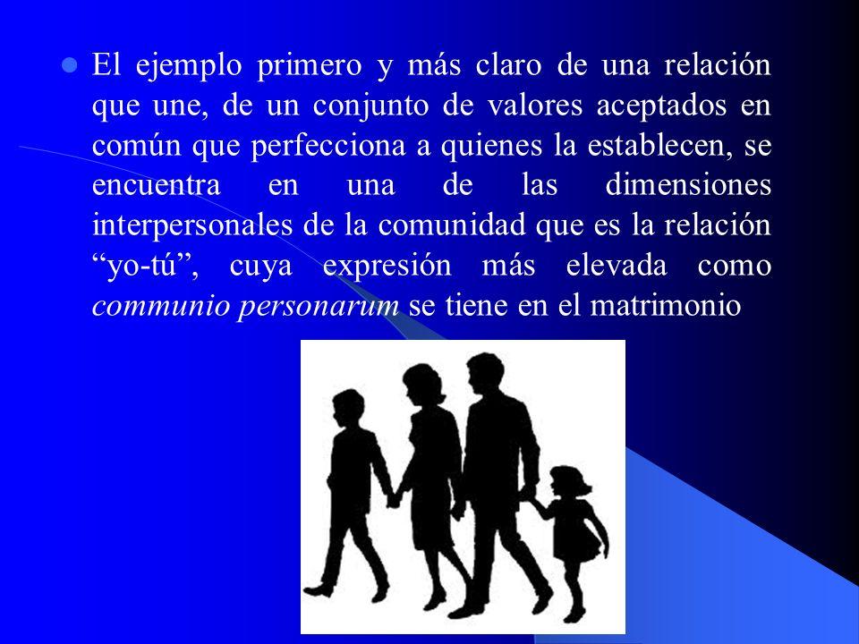 El ejemplo primero y más claro de una relación que une, de un conjunto de valores aceptados en común que perfecciona a quienes la establecen, se encuentra en una de las dimensiones interpersonales de la comunidad que es la relación yo-tú , cuya expresión más elevada como communio personarum se tiene en el matrimonio