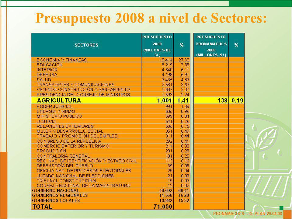 Presupuesto 2008 a nivel de Sectores: