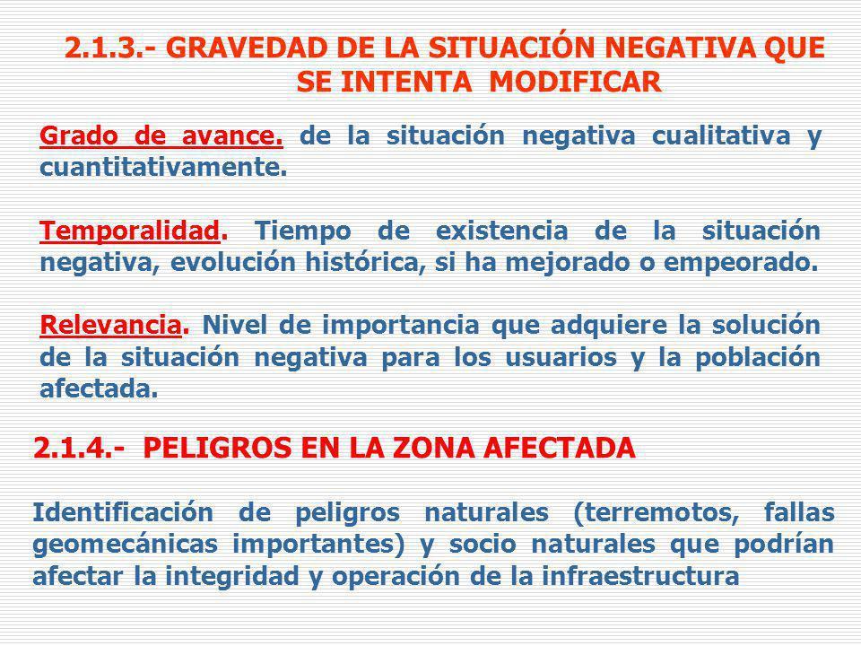 2.1.3.- GRAVEDAD DE LA SITUACIÓN NEGATIVA QUE SE INTENTA MODIFICAR