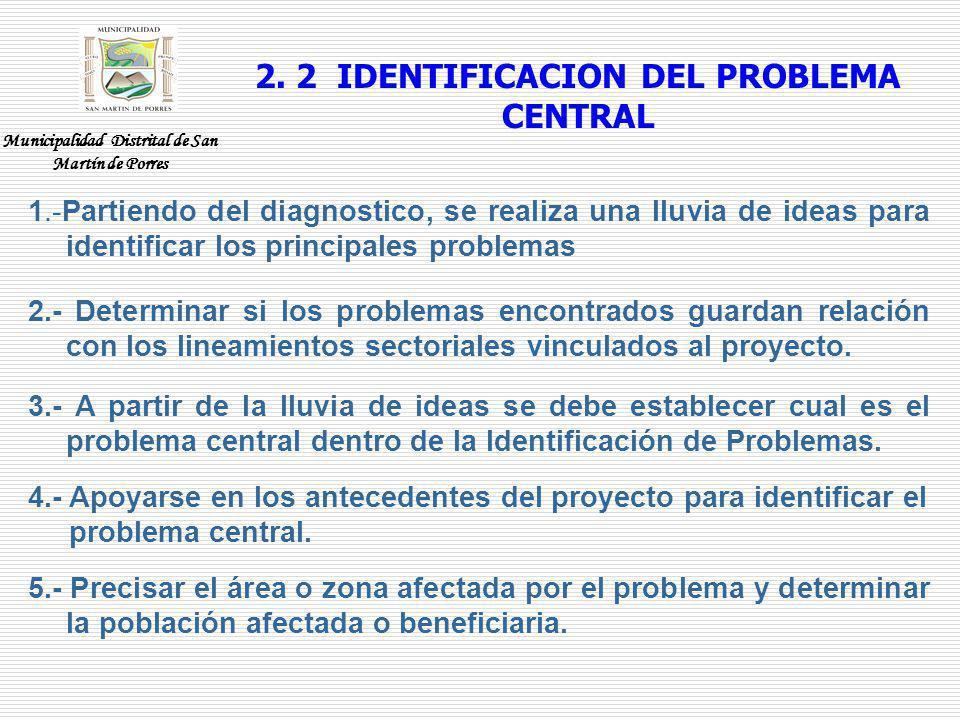 2. 2 IDENTIFICACION DEL PROBLEMA CENTRAL