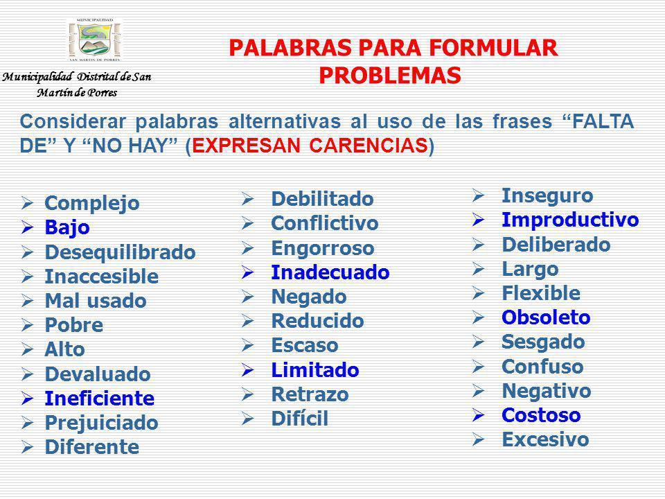 PALABRAS PARA FORMULAR PROBLEMAS