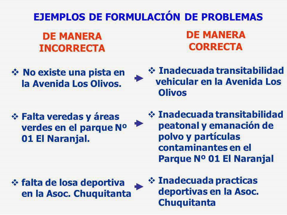 EJEMPLOS DE FORMULACIÓN DE PROBLEMAS