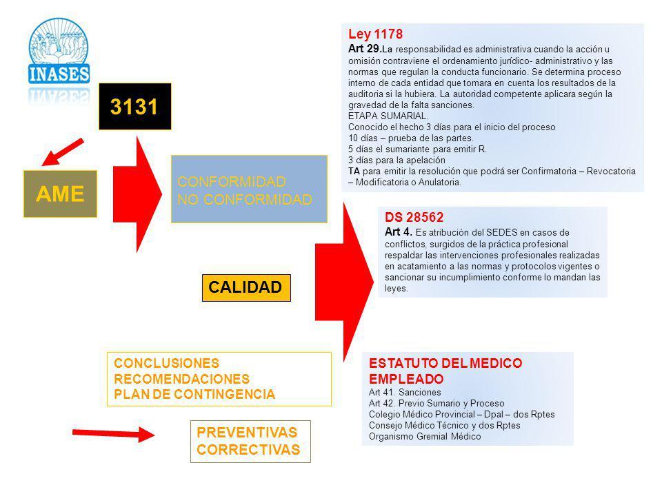 3131 AME CALIDAD CONFORMIDAD NO CONFORMIDAD PREVENTIVAS CORRECTIVAS