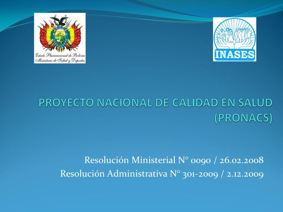 PROYECTO NACIONAL DE CALIDAD EN SALUD (PRONACS)