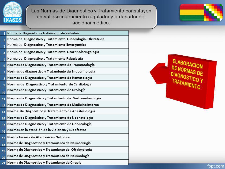 ELABORACION DE NORMAS DE DIAGNOSTICO Y TRATAMIENTO