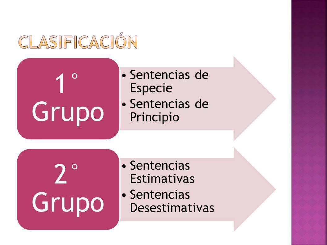 clasificación 1° Grupo Sentencias de Especie Sentencias de Principio