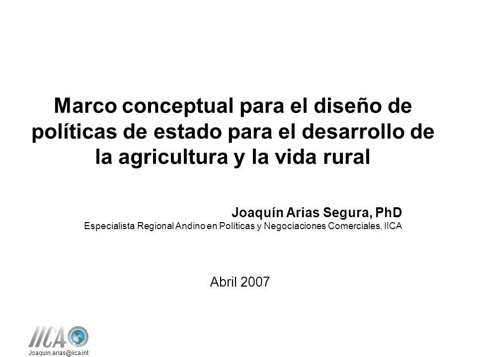Marco conceptual para el diseño de políticas de estado para el desarrollo de la agricultura y la vida rural