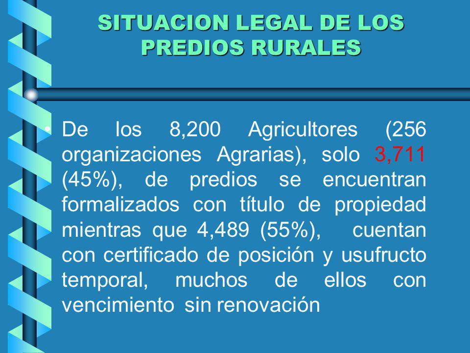 SITUACION LEGAL DE LOS PREDIOS RURALES