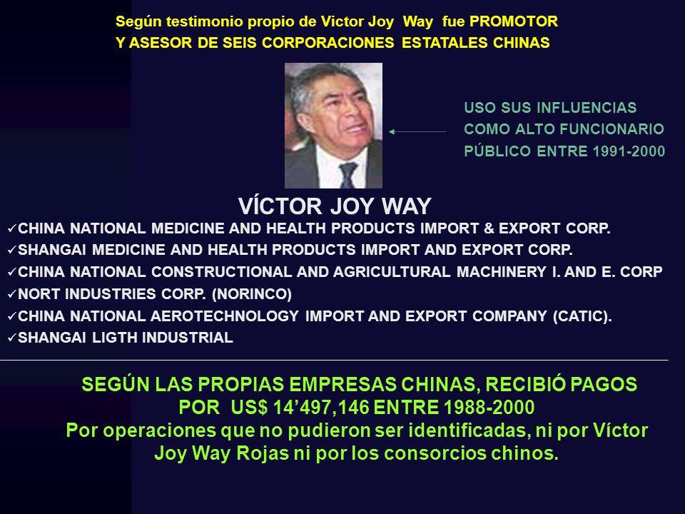 Según testimonio propio de Victor Joy Way fue PROMOTOR