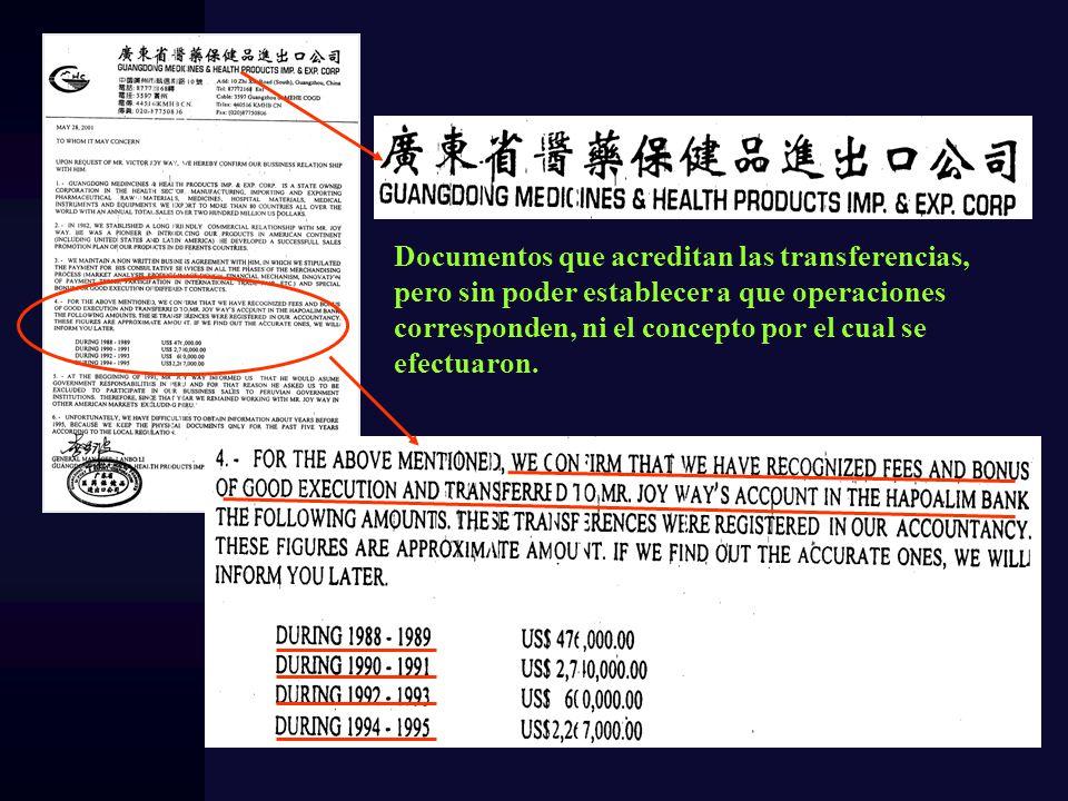 Documentos que acreditan las transferencias, pero sin poder establecer a que operaciones corresponden, ni el concepto por el cual se efectuaron.