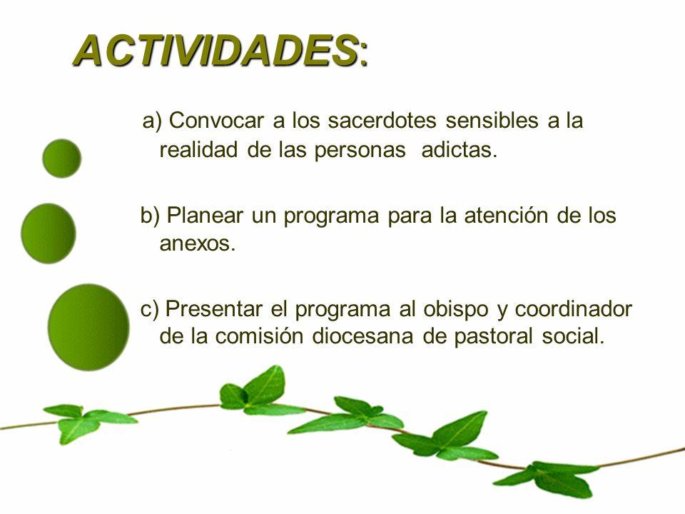 ACTIVIDADES:a) Convocar a los sacerdotes sensibles a la realidad de las personas adictas. b) Planear un programa para la atención de los anexos.