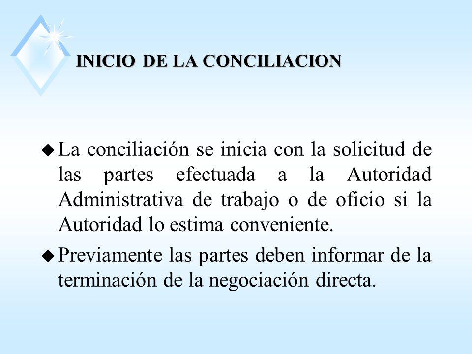 INICIO DE LA CONCILIACION