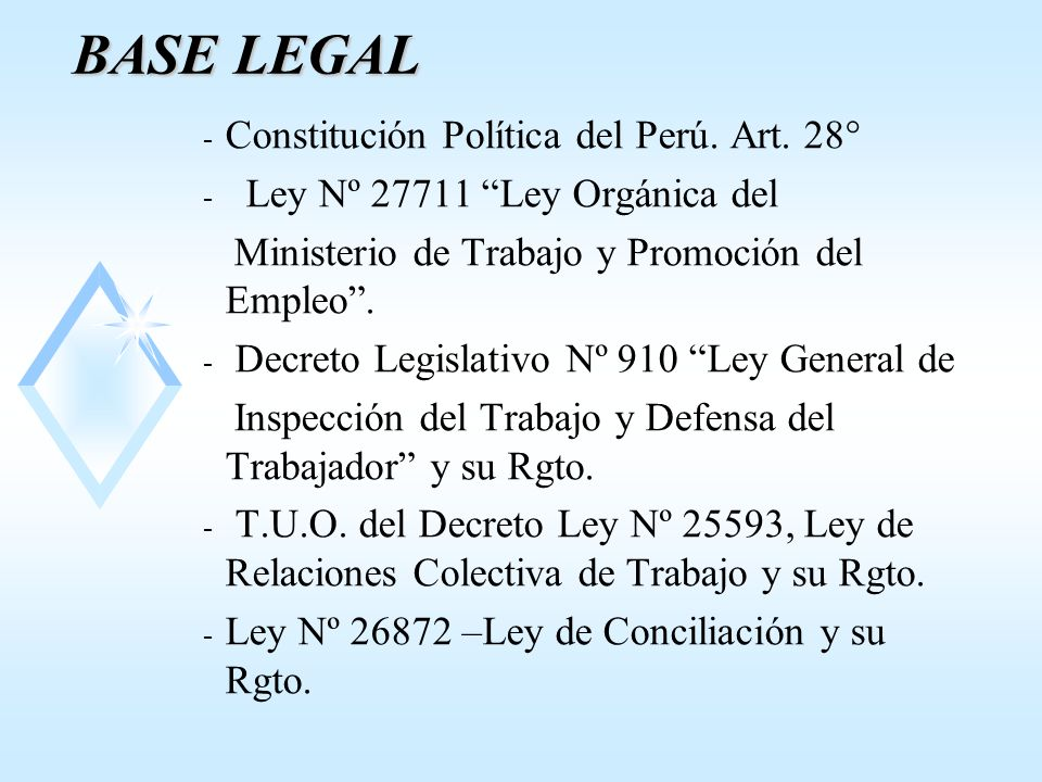BASE LEGAL Constitución Política del Perú. Art. 28°