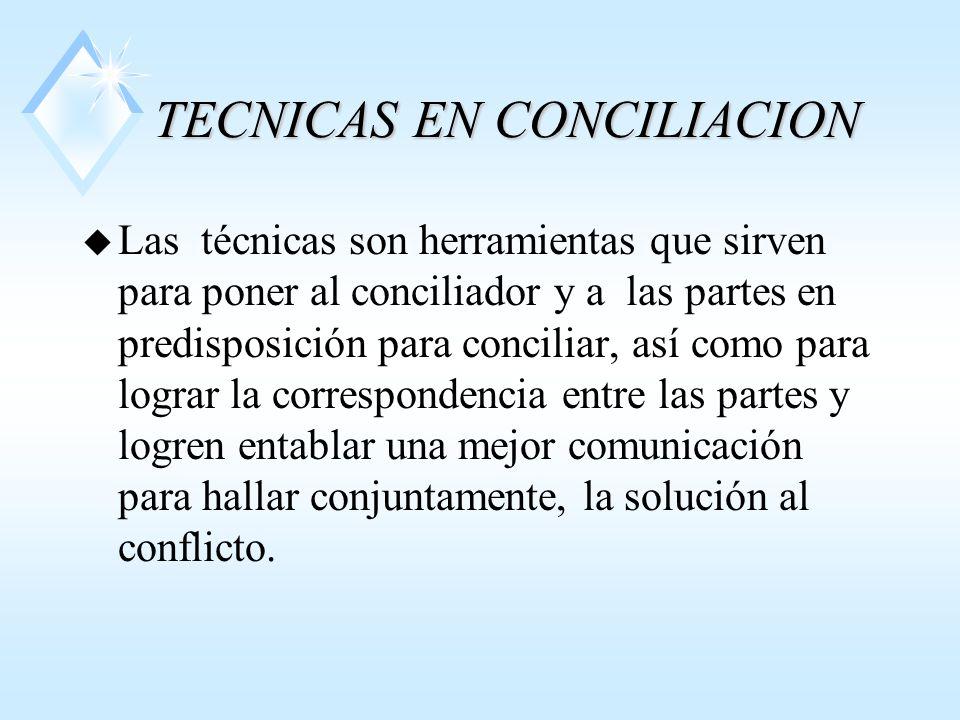 TECNICAS EN CONCILIACION