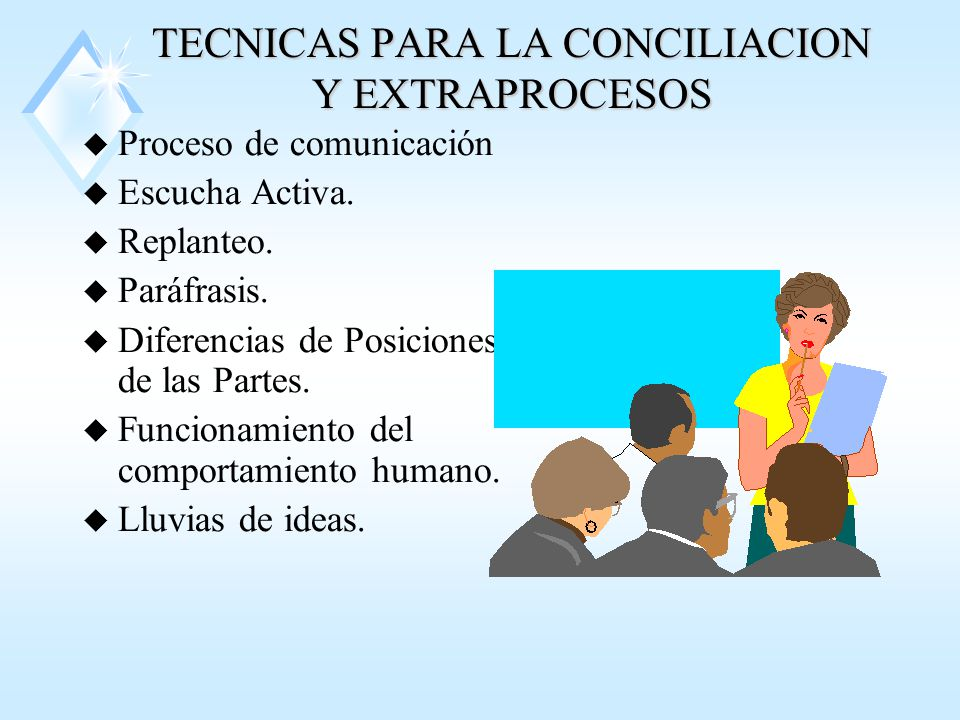 TECNICAS PARA LA CONCILIACION Y EXTRAPROCESOS