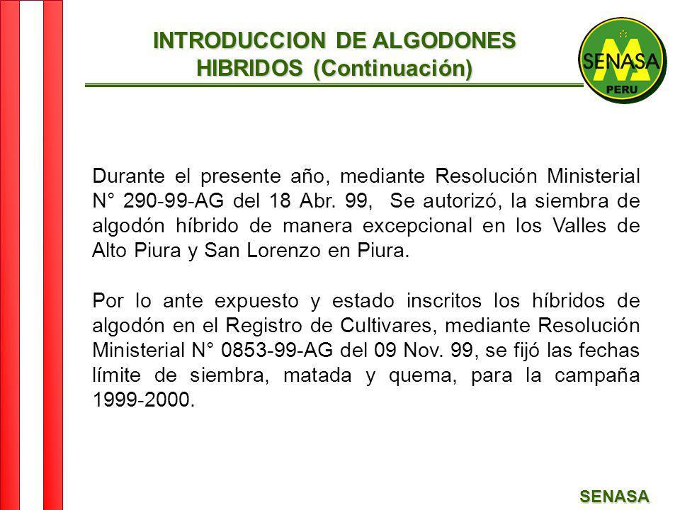 INTRODUCCION DE ALGODONES HIBRIDOS (Continuación)