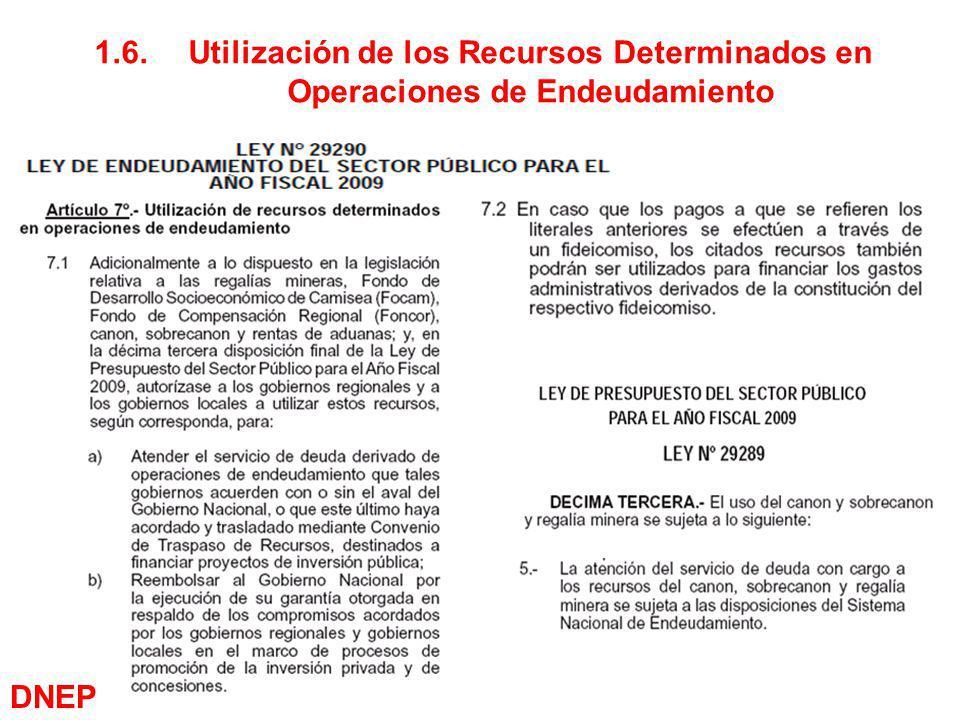 1.6. Utilización de los Recursos Determinados en Operaciones de Endeudamiento
