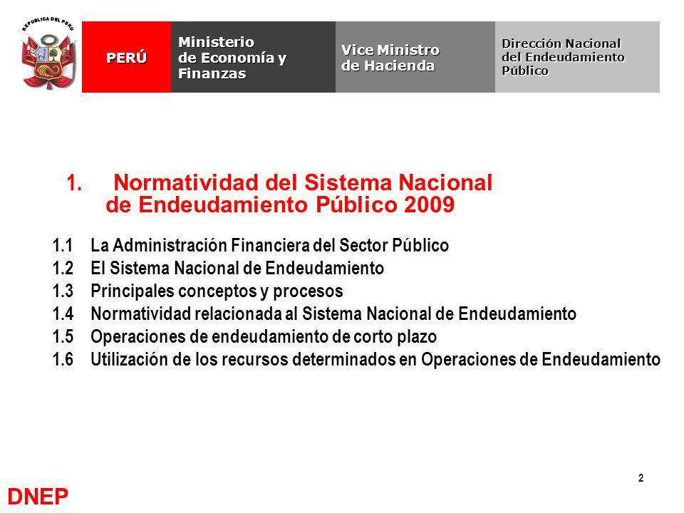 1. Normatividad del Sistema Nacional de Endeudamiento Público 2009