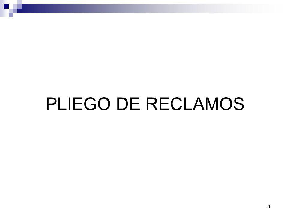 PLIEGO DE RECLAMOS