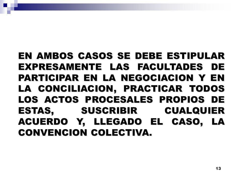 EN AMBOS CASOS SE DEBE ESTIPULAR EXPRESAMENTE LAS FACULTADES DE PARTICIPAR EN LA NEGOCIACION Y EN LA CONCILIACION, PRACTICAR TODOS LOS ACTOS PROCESALES PROPIOS DE ESTAS, SUSCRIBIR CUALQUIER ACUERDO Y, LLEGADO EL CASO, LA CONVENCION COLECTIVA.
