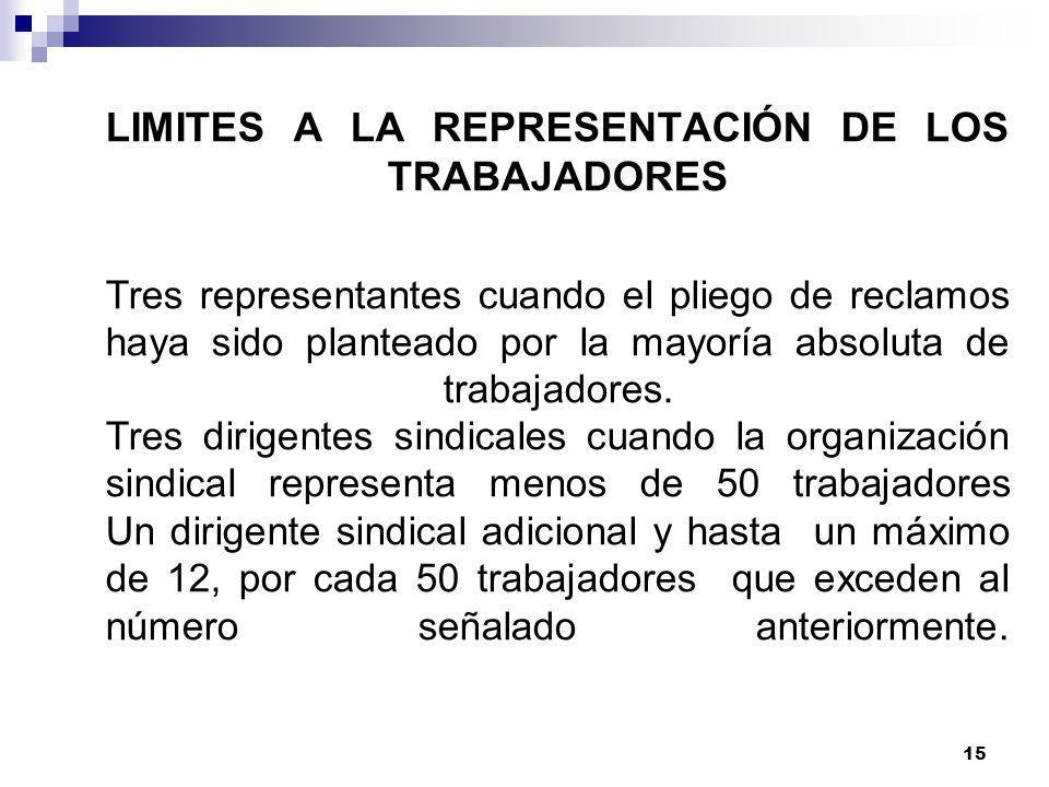 LIMITES A LA REPRESENTACIÓN DE LOS TRABAJADORES Tres representantes cuando el pliego de reclamos haya sido planteado por la mayoría absoluta de trabajadores.