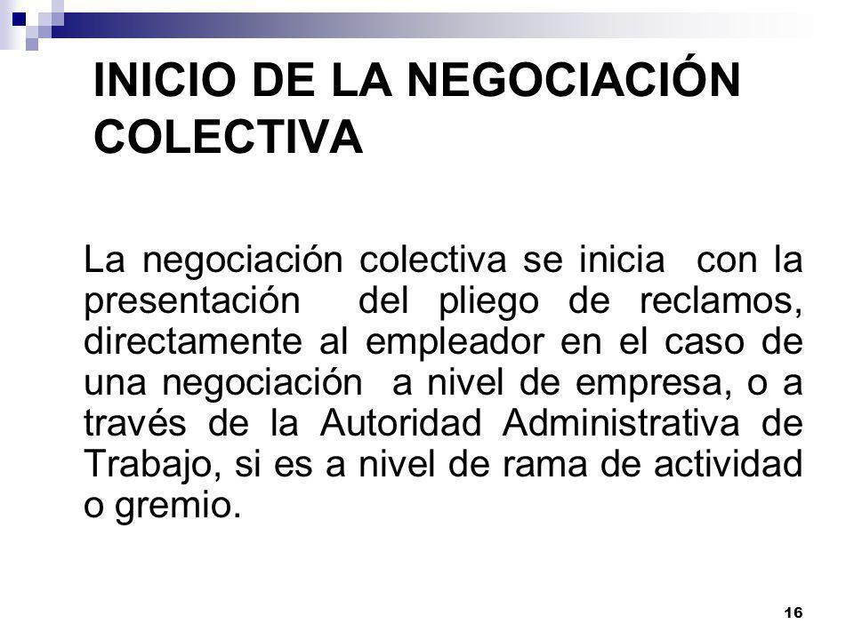 INICIO DE LA NEGOCIACIÓN COLECTIVA