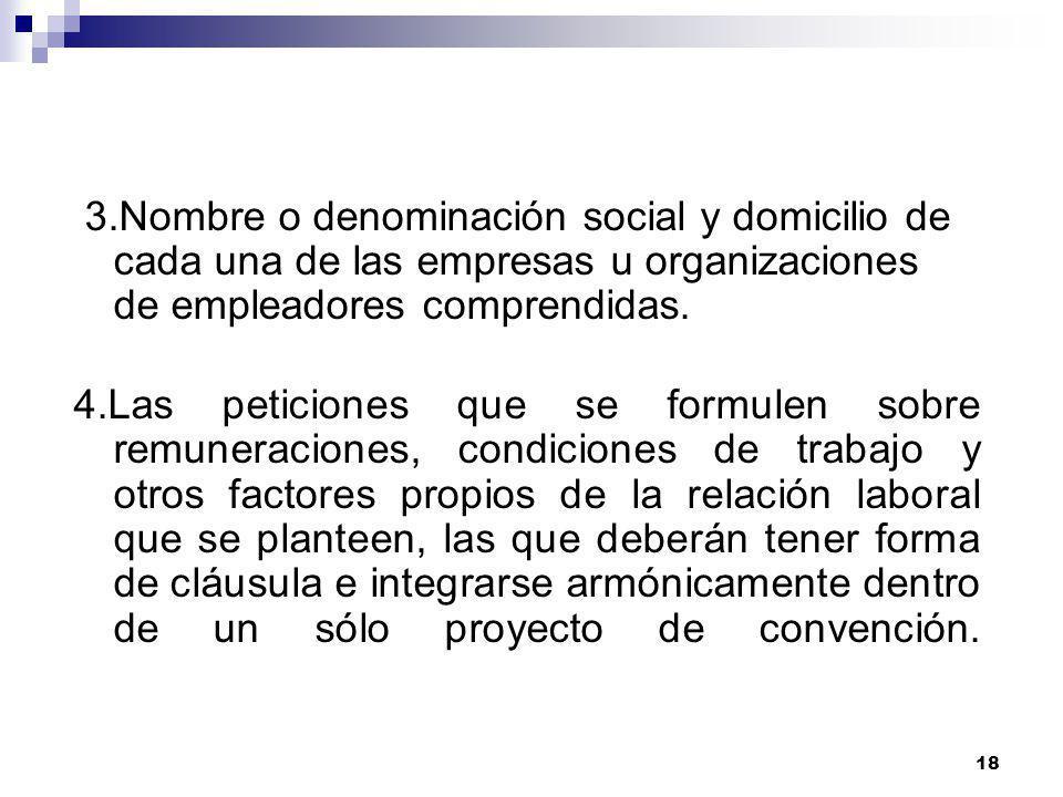 3.Nombre o denominación social y domicilio de cada una de las empresas u organizaciones de empleadores comprendidas.